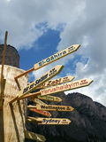World signs in a pole in Dolomiti mountains Stock Images