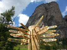 World signs in a pole in Dolomiti mountains Royalty Free Stock Photos