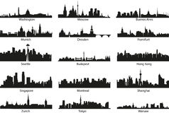World silhouettes. World vector black skyline silhouettes Stock Photos