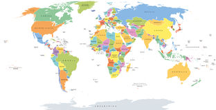 World single states political map. With national borders. Each country area with its own color. Illustration on white background under Robinson projection Royalty Free Stock Photography