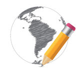 World Sketch Map Infographic Buiness Template Royalty Free Stock Photo