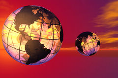 World and sky. Fancy 3D rendered of world stock illustration