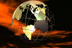 World and sky. Fancy 3D rendered of world Royalty Free Stock Images