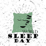 World Sleep Day Black Lettering Typography with zzz pillow and burst on a Old Textured Background. Vector illustration for cards, banners, print Royalty Free Stock Photography