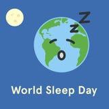 World Sleep Day. Earth sleeping. Flat  illustration Royalty Free Stock Image