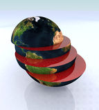 The world in slices. 3d illustration Royalty Free Stock Photo