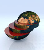 The world in slices. 3d illustration Royalty Free Stock Image