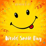 World Smile Day confetti smiling card. Smile with tongue and lettering World Smile Day on yellow beams and confetti background. Vector illustration royalty free illustration
