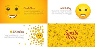 World smile day greeting card set. Festive flyers with cute and cheerful emoticons. Happiness and fun holiday celebration. Positive smile emoji in flat style stock illustration
