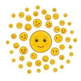 World smile day holiday art composition. Various happy emoticons on white background. Funny festival of happiness. Joyful smile emoji isolated objects. World royalty free illustration