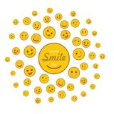 World smile day holiday concept. With various happy emoticons. Cheerful day of happiness and fun celebration. Joyful smile emoji on white background. World vector illustration