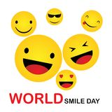 World Smile Day. Smile Icon Vector. happiness Symbol, smile face expression, vector illustration. Template design stock illustration