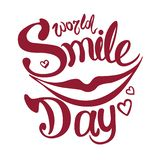 World Smile Day. Lettering. Quiet smile. Vector illustration. World Smile Day. Lettering and yellow emoticon. Quiet smile. Vector illustration. Lips. 5 october vector illustration