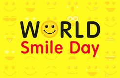 World Smile Day with lettering and smiling emoticon. Happy yellow smiley in a flat design and text World Smile Day on yellow background. Vector emoticon joy vector illustration