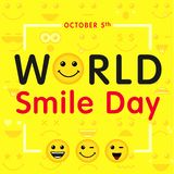 World Smile Day with lettering and smiling emoticon, october 5th. Happy yellow smiley in a flat design and text World Smile Day on yellow background. Vector royalty free illustration