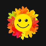 World Smile Day web cute emblem. World festive congrats. Coloured foliage, red, pink smiling leaves on dark bg. Congratulating celebrating decorating isolated vector illustration