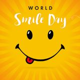 World Smile Day yellow stripes card. Smile with tongue and lettering World Smile Day on yellow beams background. Vector illustration Stock Photography