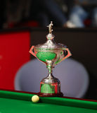 World Snooker Champioship Trophy. Pictured before a snooker friendly match between England's Stuart Bingham and Ronnie O'Sullivan, in Bucharest, Romania Royalty Free Stock Photo
