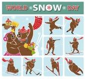 World snow day.Bear champion.Winter sports Stock Photography