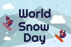 World snow day greeting card. Letters on blue background with mountains and flakes and snowboarder and skies in flat. Style. Vector illustration Royalty Free Stock Photo
