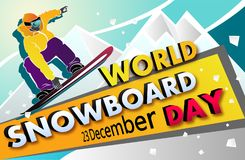 World Snowboard Day Vector banner. Man on Snowboard. Snowboarder in the mountains Royalty Free Stock Image