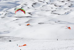 World snowkite contest Altosangro 2016 Royalty Free Stock Photography