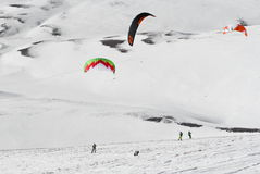 World snowkite contest Altosangro 2016 Royalty Free Stock Images