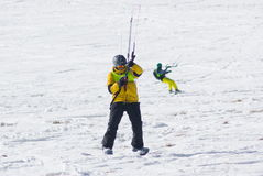 World snowkite contest Altosangro 2016 Stock Images