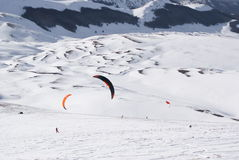 World snowkite contest Altosangro 2016 Stock Photos