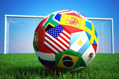 World of soccer. 3d rendering of a soccer ball with countries and a goal in the background Stock Images