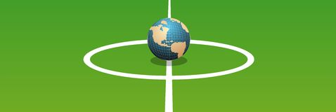 World soccer. A globe fixed like a ball in the middle of a football ground Royalty Free Stock Photos