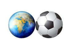 World soccer ball. Illustrated earth and soccer ball that are the same size isolated against a white background Royalty Free Stock Images