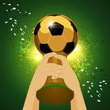 World soccer champion. Soccer Trophy for Champion with green background  Vector illustration Royalty Free Stock Photography