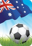 World soccer championship 2010 - Australia. 2010 championship Cup theme with a classic ball on the grass and Australian flag Royalty Free Stock Images