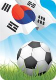 World soccer championship 2010 - Korea Republic. 2010 Soccer championship theme with a classic ball on the grass and South Korean flag Royalty Free Stock Photo