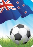 World soccer championship 2010 - New Zealand. 2010 Soccer championship theme with a classic ball on the grass and New Zealand flag Royalty Free Stock Photo