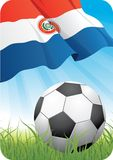 World soccer championship 2010 - Paraguay. 2010 Soccer championship theme with a classic ball on the grass and Paraguayan flag Royalty Free Stock Photo