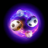 World soccer circle. Soccer ball in flames and world spheres against black background. Vector world soccer concept illustration Stock Images