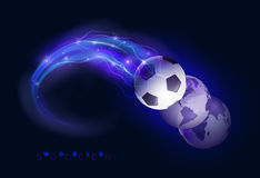 World soccer design concept. Soccer ball in flames and lights against black background. Vector illustration Stock Photography