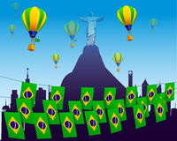 World soccer football 2014 decorated with flags Stock Photo