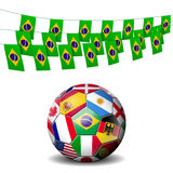 World soccer football decorated with flags of Braz Royalty Free Stock Images