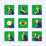 World soccer icons and apps Set design concept. Royalty Free Stock Photo