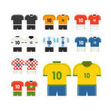 World soccer team t-shirts vector clip-art. Royalty Free Stock Photo