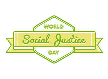 World Social Justice day greeting emblem. World Social Justice day emblem isolated vector illustration on white background. 20 february international holiday Royalty Free Stock Image