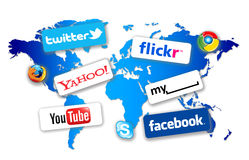 World Social Network. With the production of smaller mobile computers like Apple iPads and larger capacity iPhones it it now possible to these these to  brows Royalty Free Stock Photos