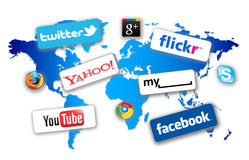World Social Network. With the production of smaller mobile computers like Apple iPads and larger capacity iPhones it it now possible to these these to  brows Royalty Free Stock Photography