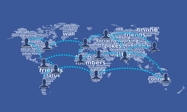 World of social network 3. Words from social networking languages make the world map and with peoples connected
