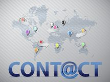 World social network contact us Stock Images