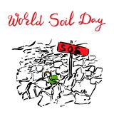 World Soil Day creative concept. World Soil Day abstract concept for banner or poster design. Seedling growing trough dry soil cracks. Protection and vector illustration
