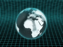 World sourrounded by modern grid. Stylized world on modern futuristic grid Stock Photography